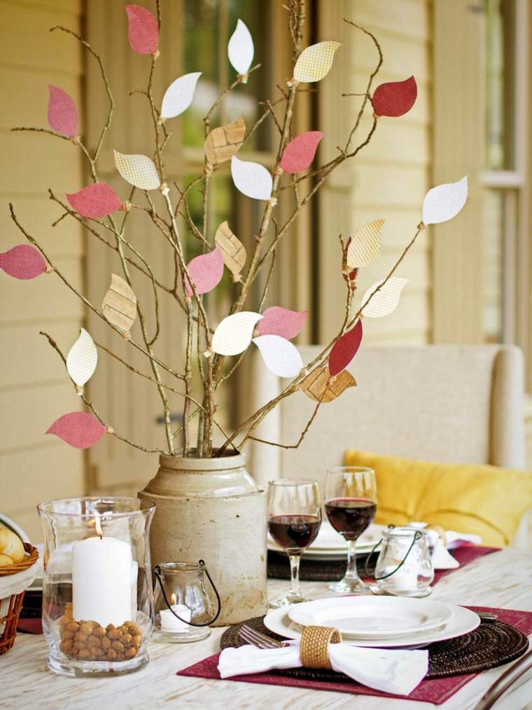 centro mesa ramas hojas cartulina