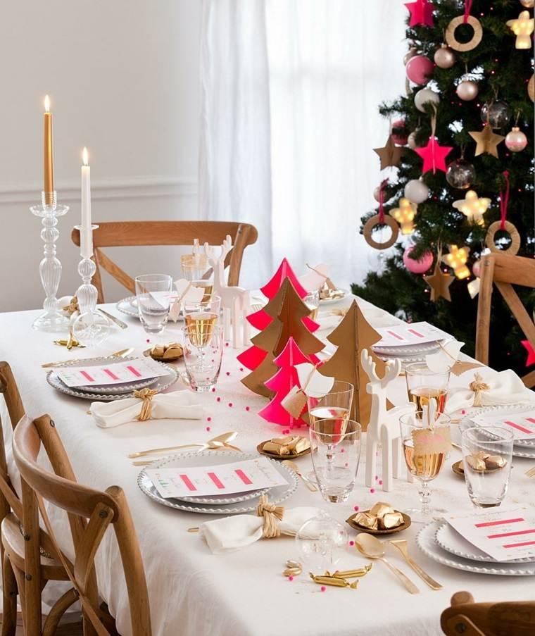 centros de navidad decorar mesa arboles navidad papel ideas