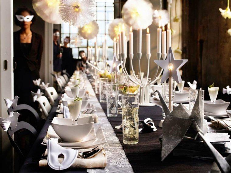 centros de navidad decorar mesa blanco negro ideas