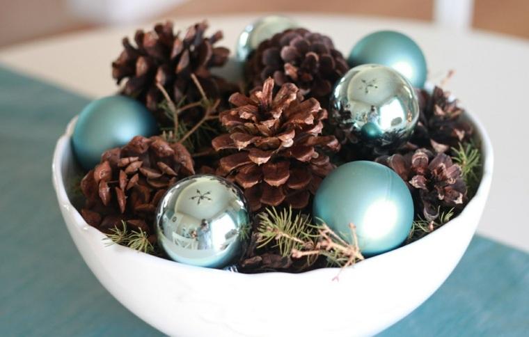 centros de navidad decorar mesa bolas pinas ideas