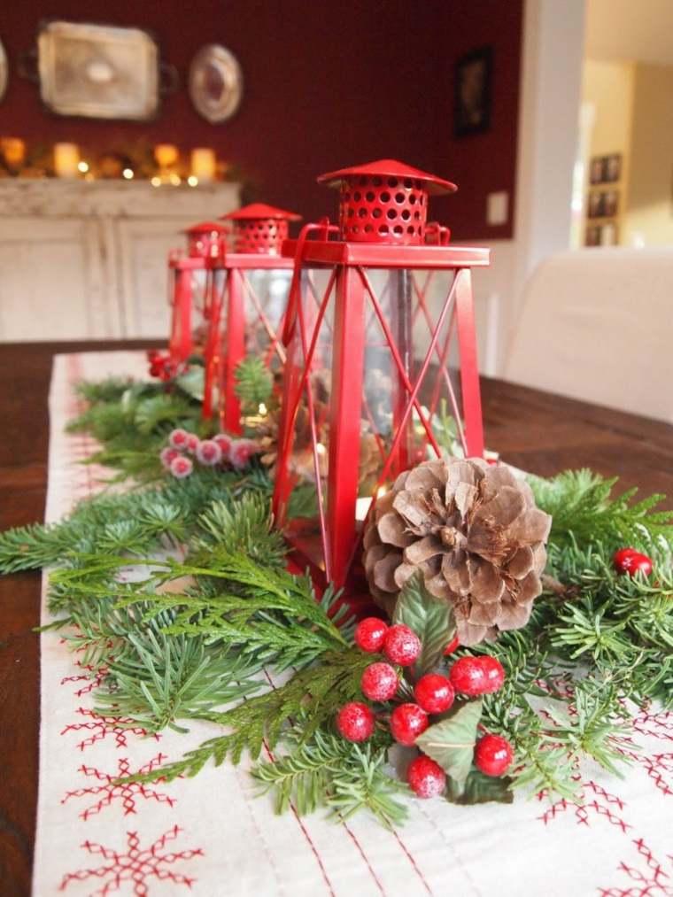 centros de navidad decorar mesa clasicos linternas rojas ideas