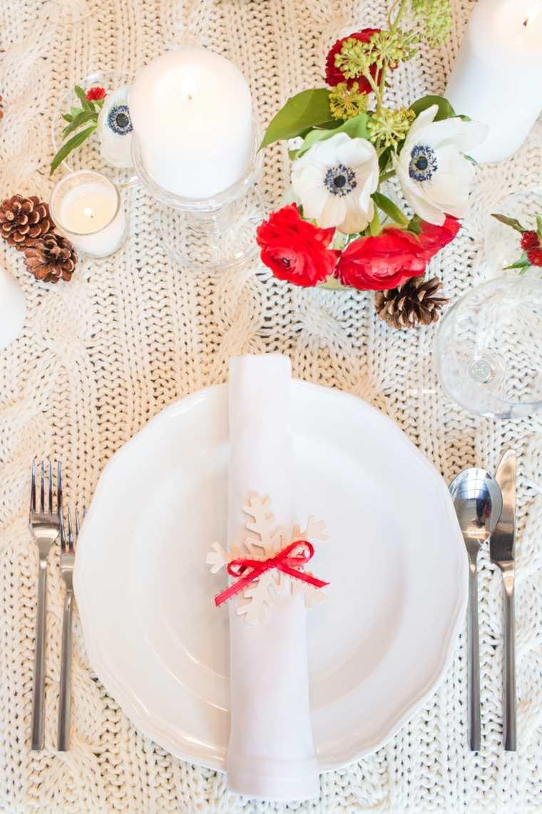 centros de navidad decorar mesa copos nieve ideas