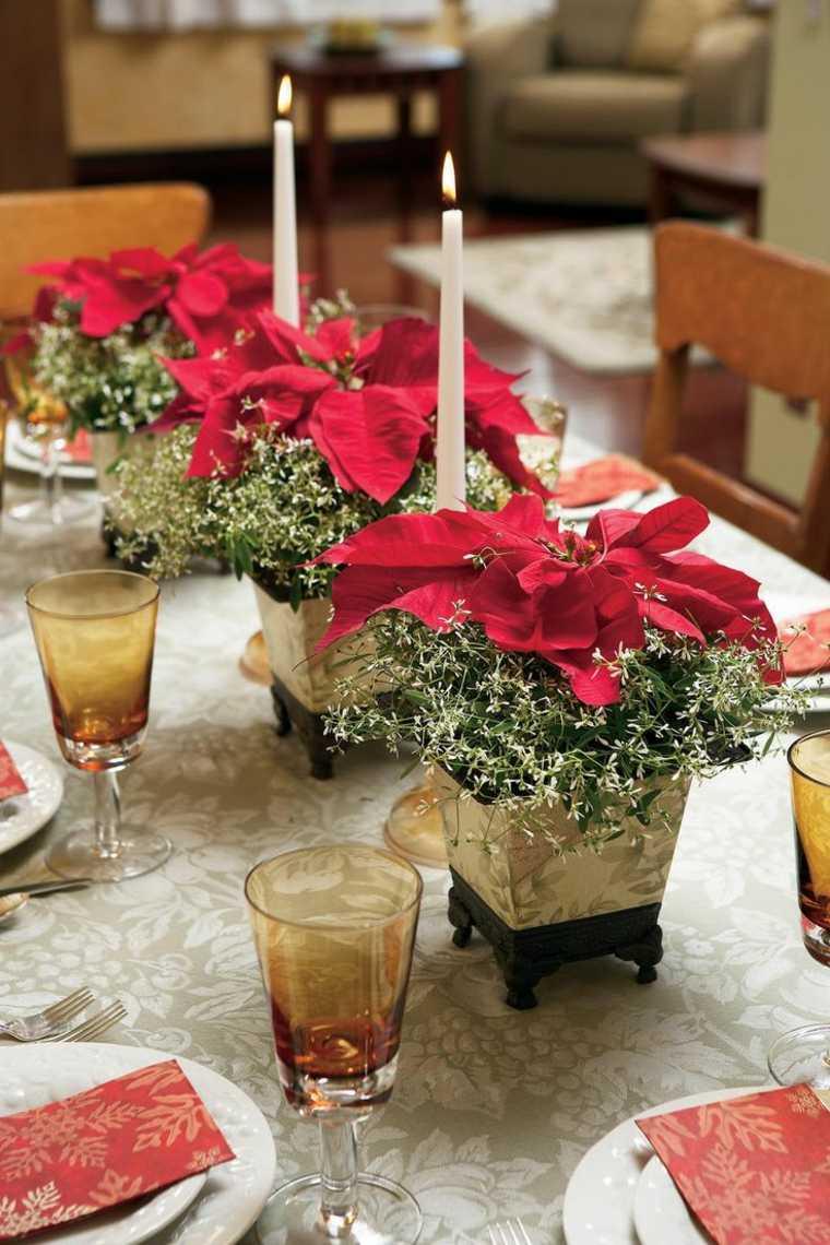 centros de navidad decorar mesa flor pascua ideas