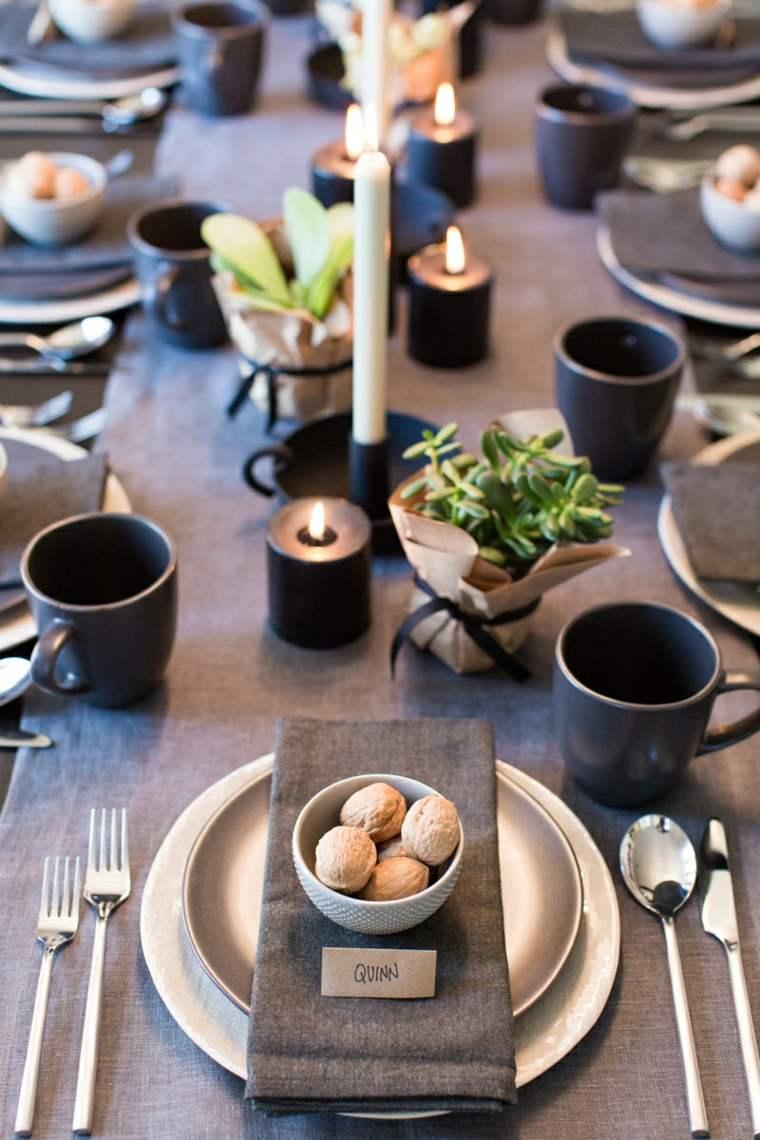 centros de navidad decorar mesa minocromatico ideas