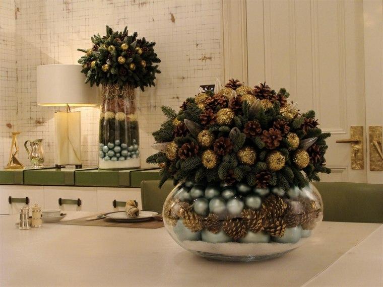 centros de navidad decorar mesa recipientes bolas pinos ideas