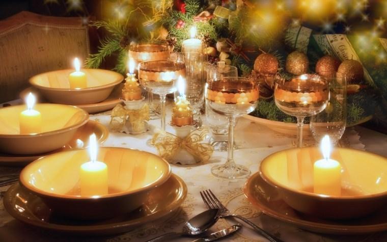 centros de navidad decorar mesa simples velas ideas