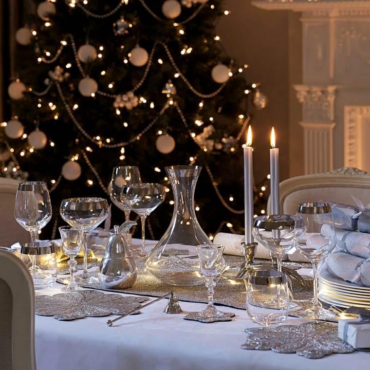 centros de navidad decorar mesa velas color plata ideas