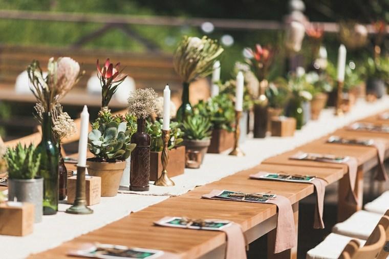 centros mesa bodas vintage flores macetas ideas
