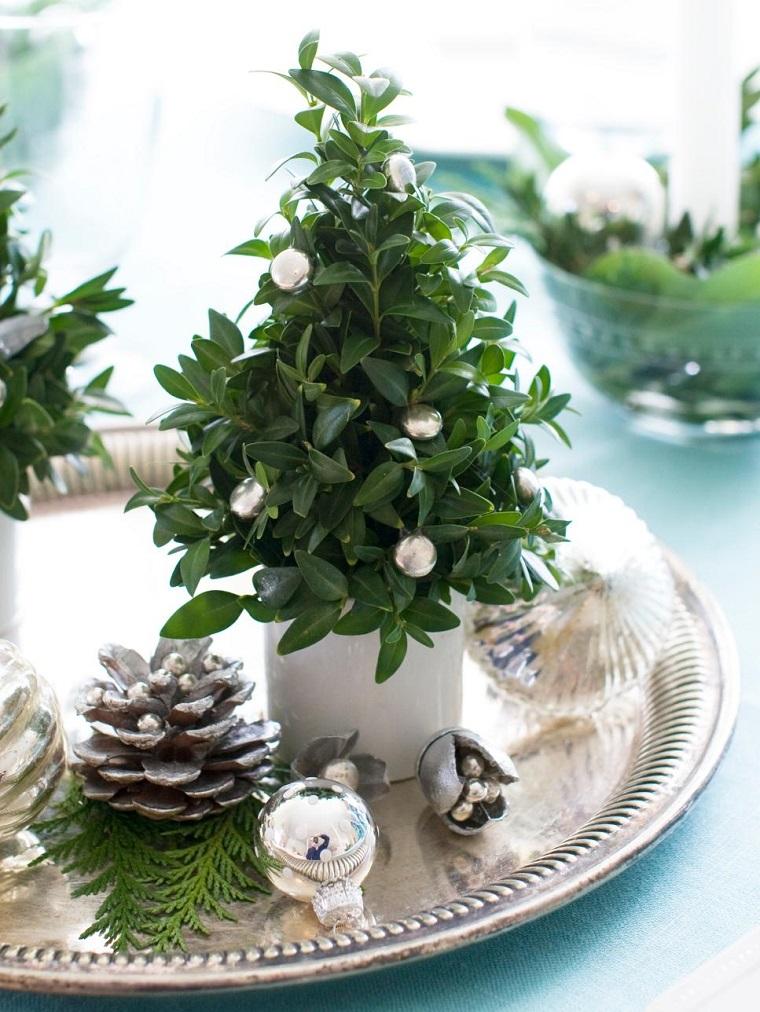centros mesa navidad decoracion arbolito pequeno ideas