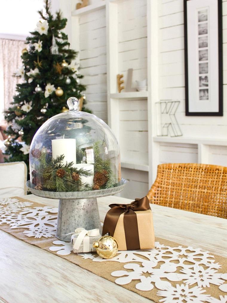 centros mesa navidad decoracion camino mesa copos nieve ideas