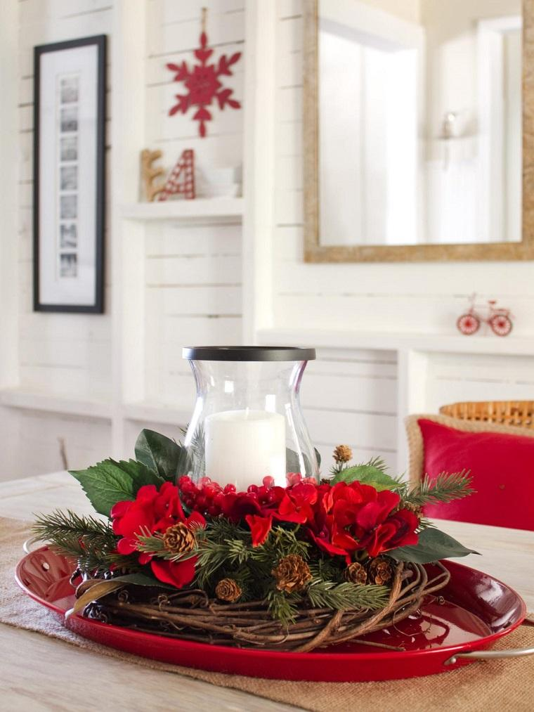 centros mesa navidad decoracion nido ramas vela ideas