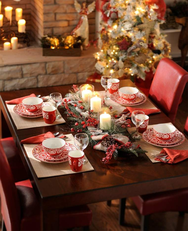 centros mesa navidad decoracion velas plantas rojo navideno ideas
