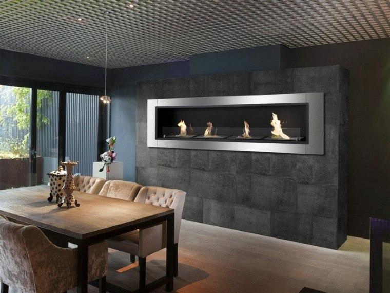 chimenea pared diseño moderno