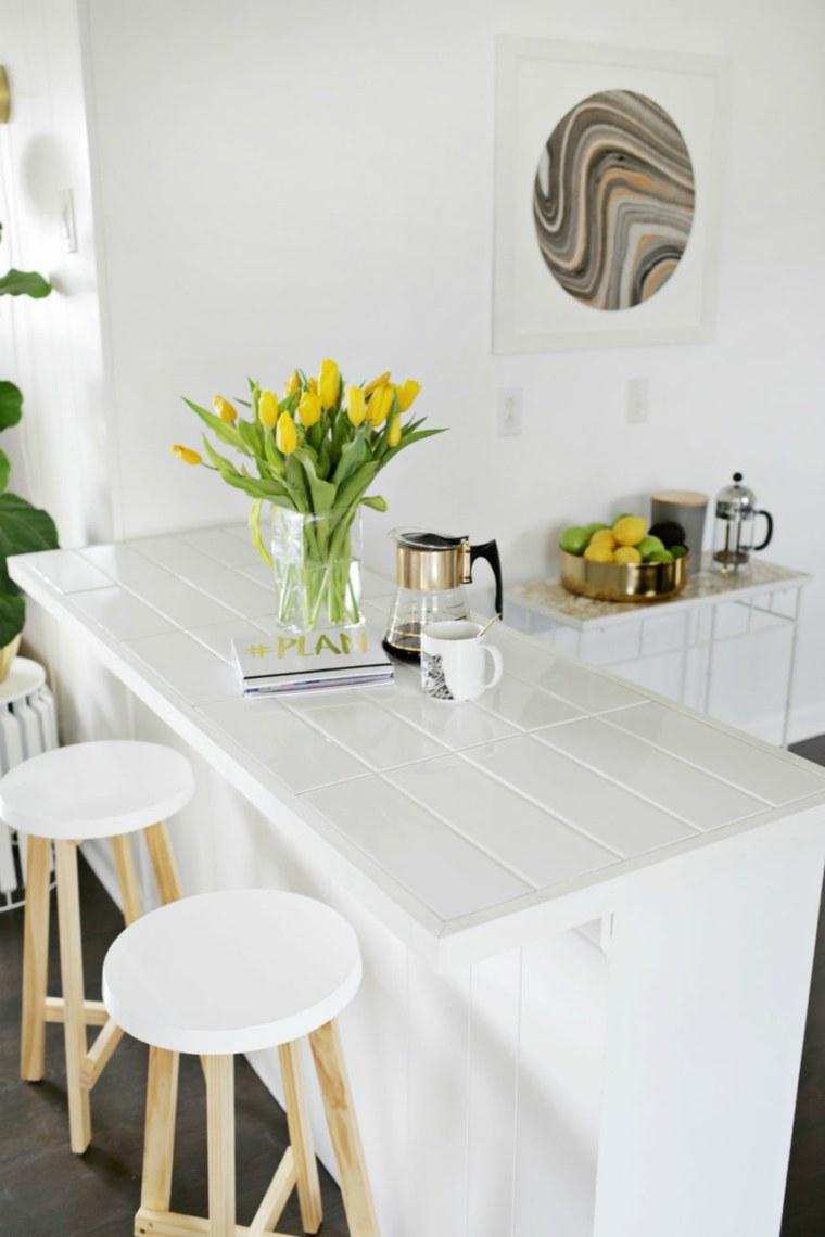 cocina barra blanco encimera losas ideas