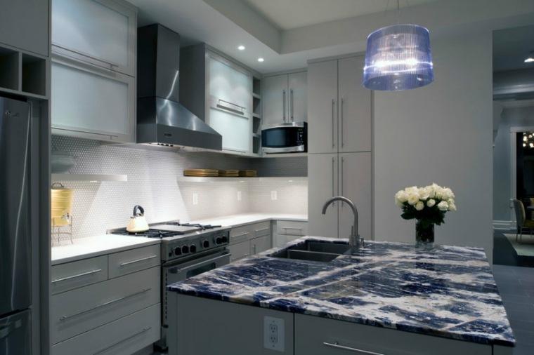 cocinas con centros granito azul ideas