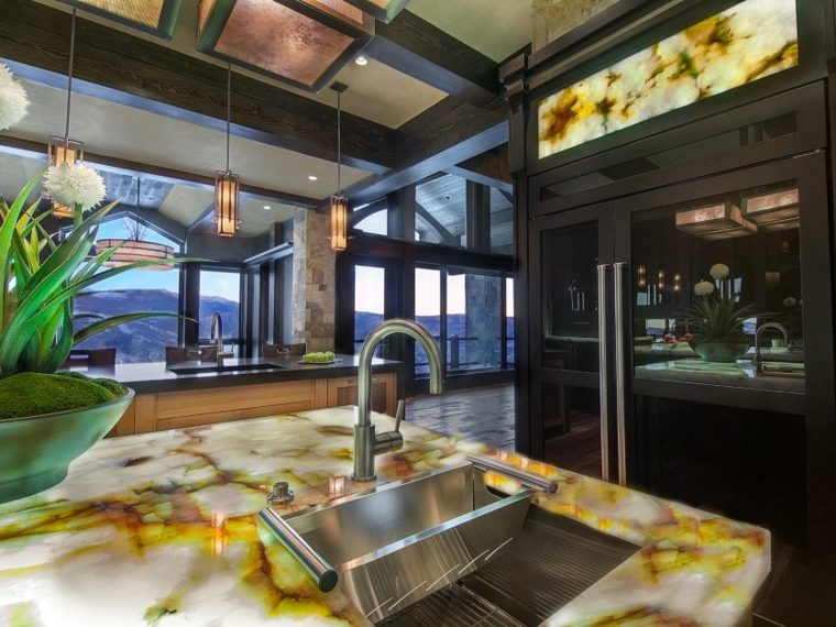 cocinas con centros iluminados bonitos opciones ideas