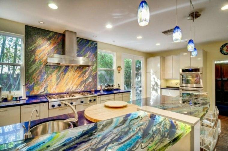 cocinas con encimeras inusuales cristal colorido ideas
