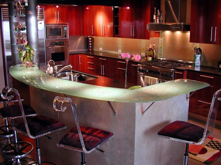 Cocinas con encimeras inusuales que les sorprender n - Encimeras de cristal ...