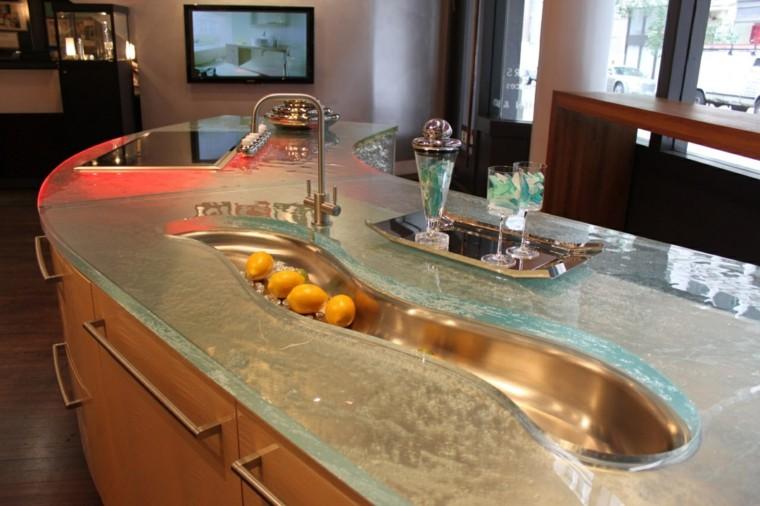 cocinas con encimeras inusuales lavabo forma original ideas