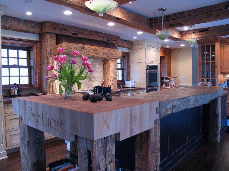 cocinas con encimeras inusuales madera reciclada ideas