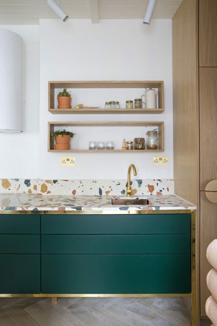 cocinas con encimeras inusuales piedra marmol recostruido ideas