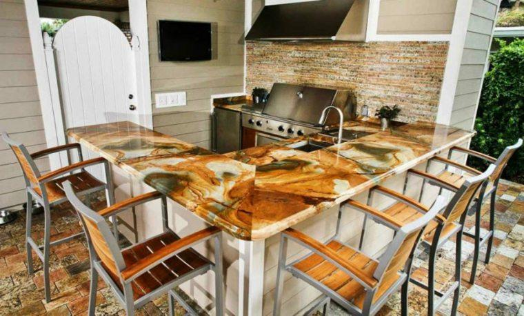 cocinas con encimeras inusuales piedra onix marron ideas