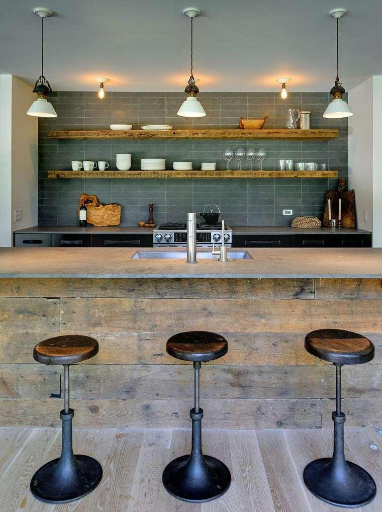 cocinas rusticas diseno barra estantes abiertos ideas