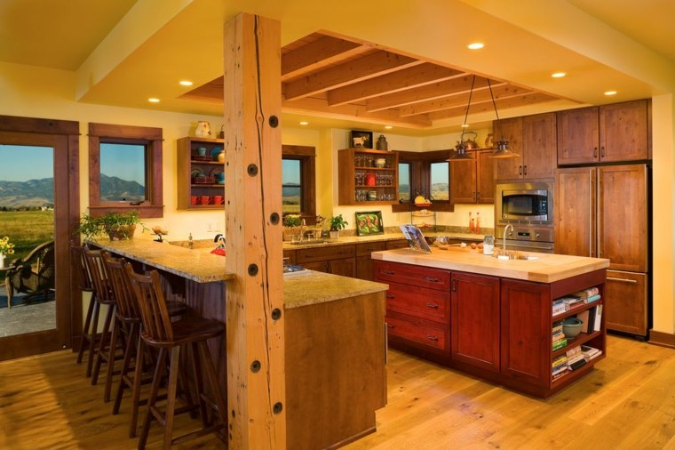 Fotos cocinas rusticas campo elegant azulejos rsticos for Barra cocina madera
