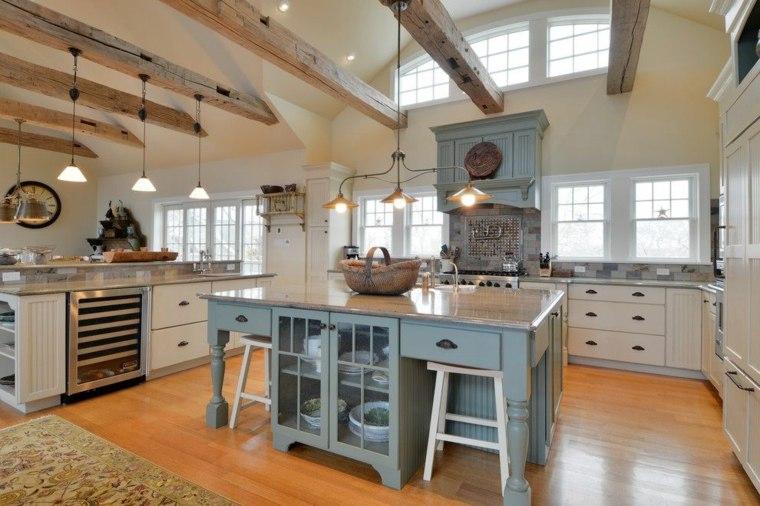 cocinas rusticas diseno barra madera azul ideas