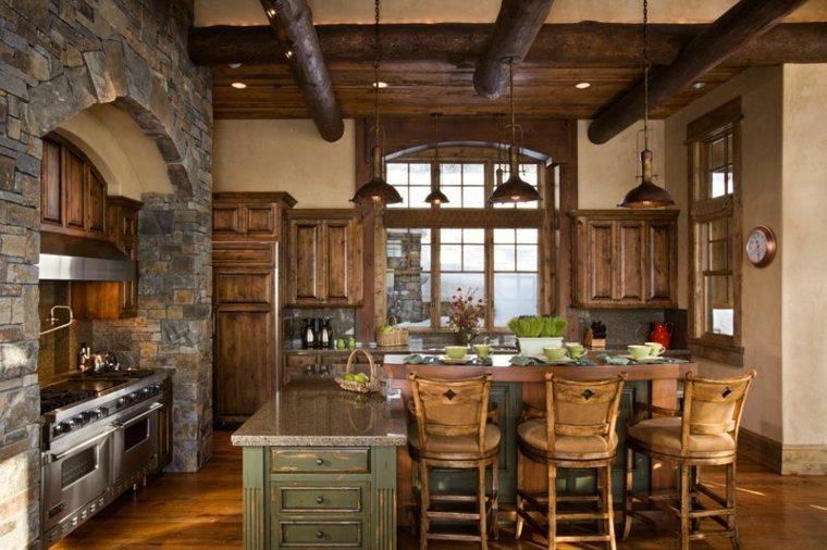 cocinas rusticas diseno combinacion madera piedra ideas