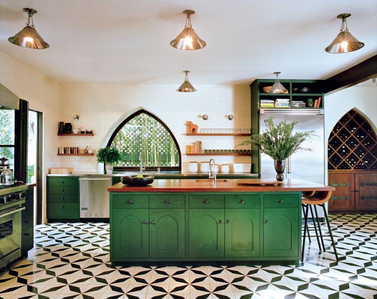 cocinas rusticas diseno isla verde ideas