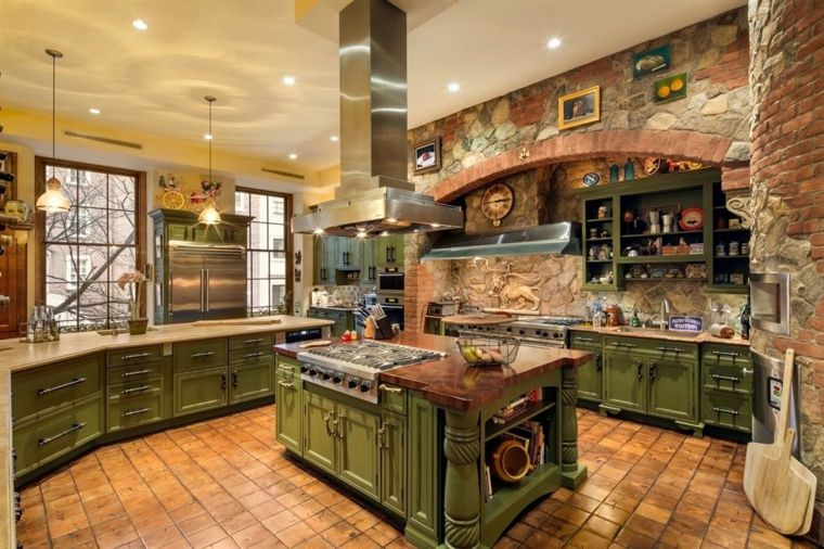 Atractivo Grises Muebles De Cocina Verdes Motivo - Ideas para ...