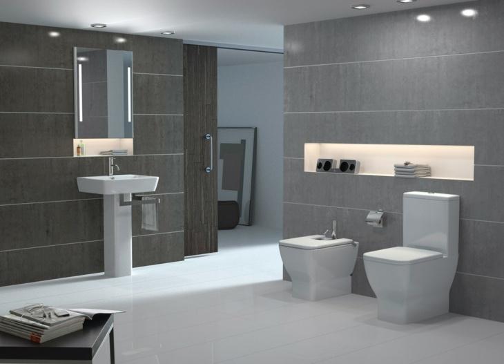 color gris baños moderno estantes led
