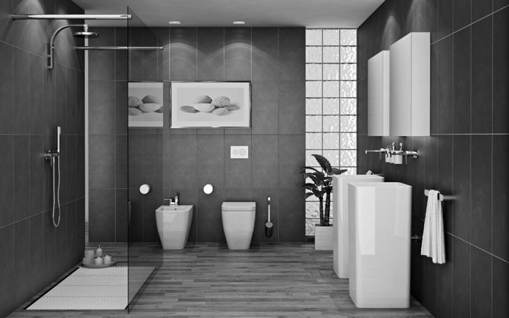 Color gris baños con diseños acogedores y asombrosos
