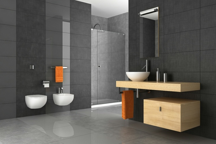color gris baños madera muebles interesante