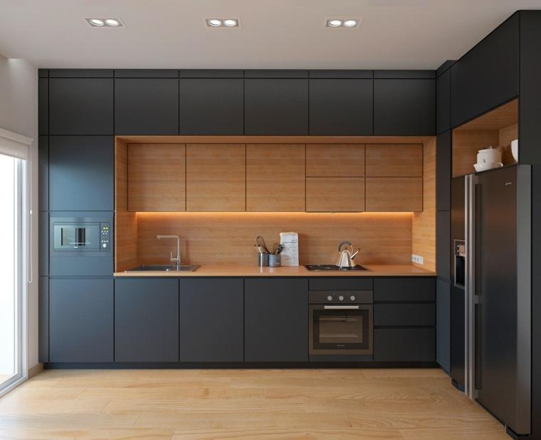 combinacion preciosa madera color negro cocina ideas
