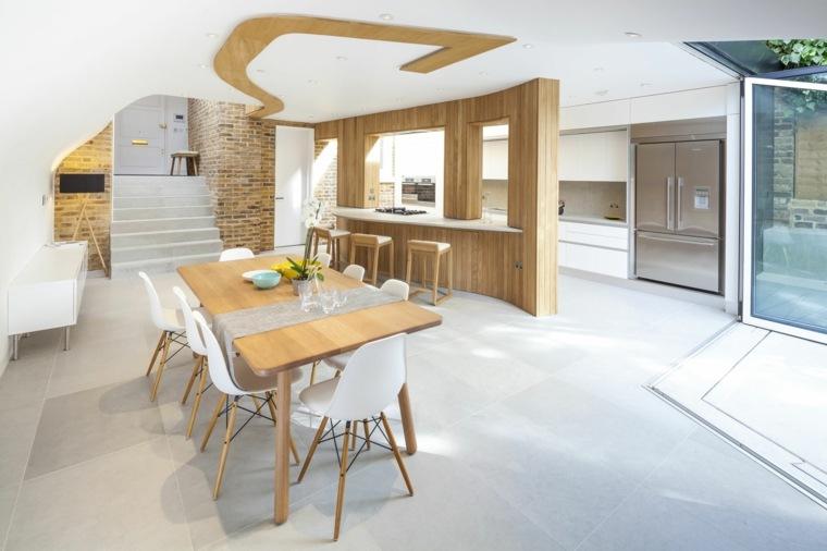 comedor cocina acentos madera natural