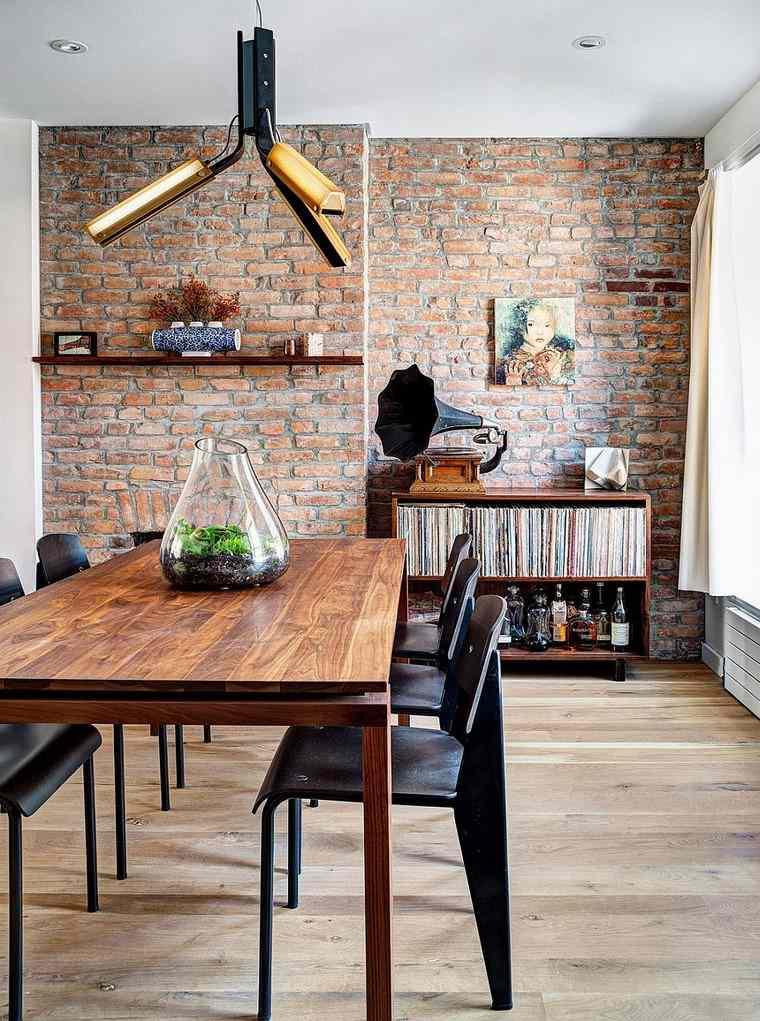Ladrillo visto 45 ideas para su uso en el dise o interior for Diseno sala comedor espacios pequenos