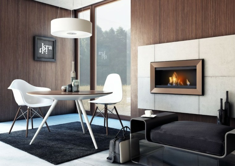 diseño comedor moderno chimenea gas