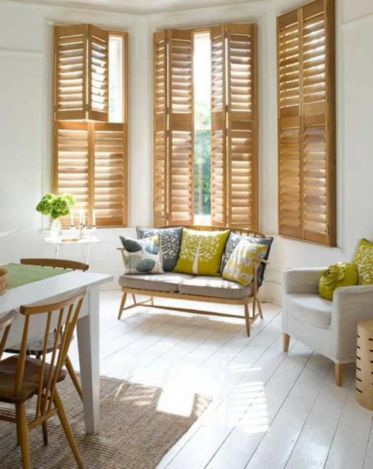 conjunto persianas venecianas de madera