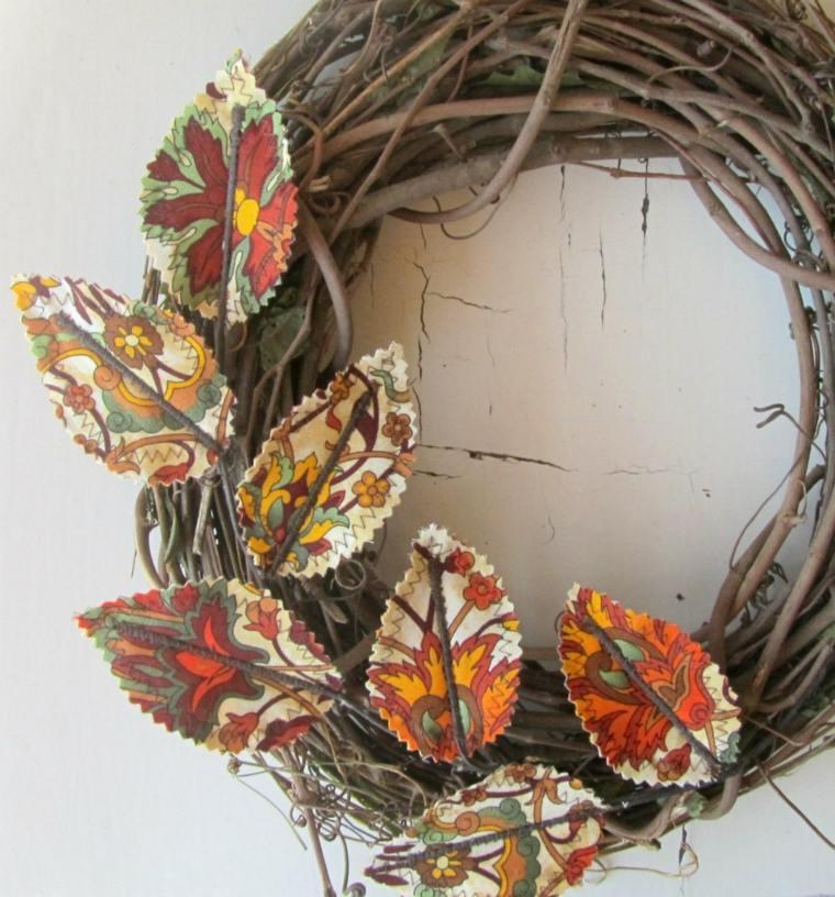 corona de ramas hojas tela