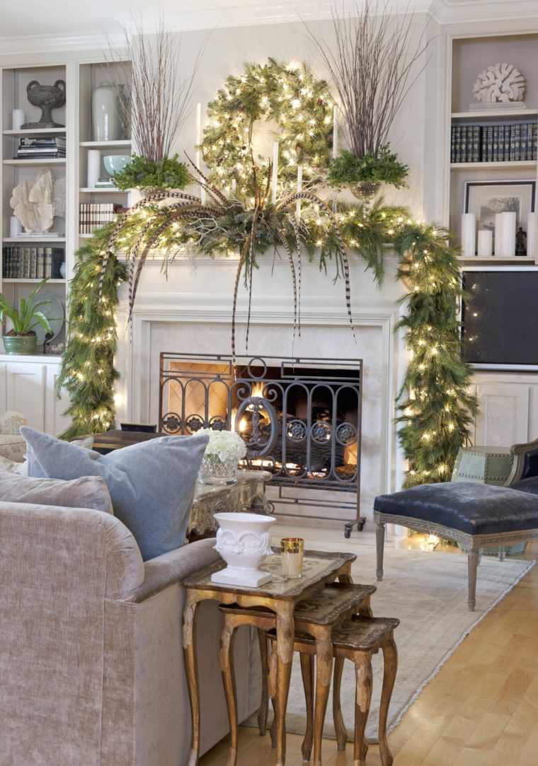 decorar chimenea guirnaldas luces