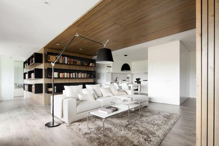 decoración techo listones madera