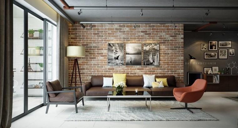 decoración con ladrillos sala de estar