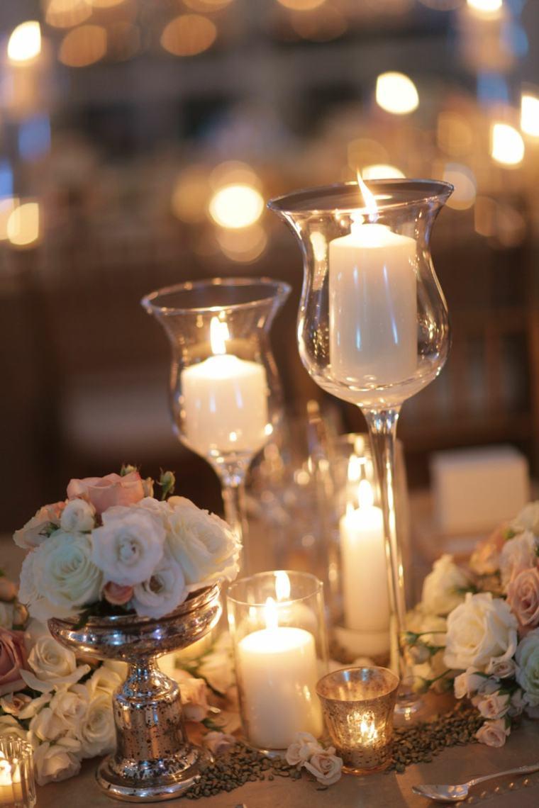 decoración con velas copas