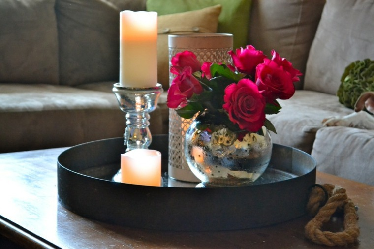 decoración con velas flores