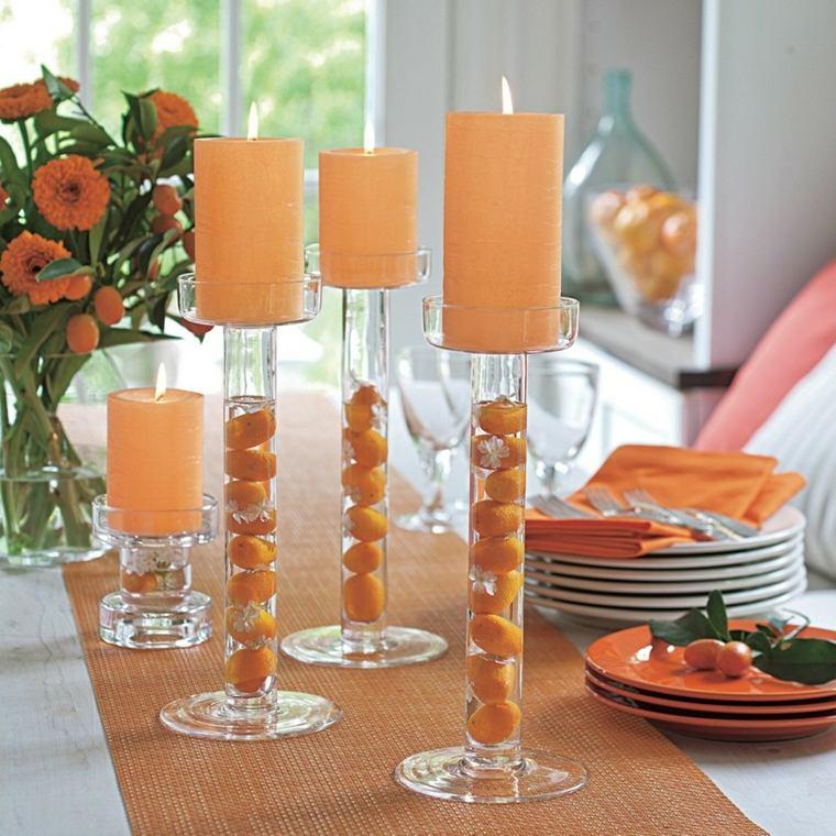 decoración con velas grandes
