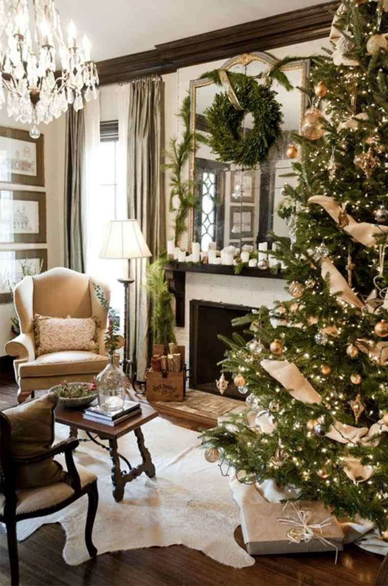 decoración de árboles de navidad dorado
