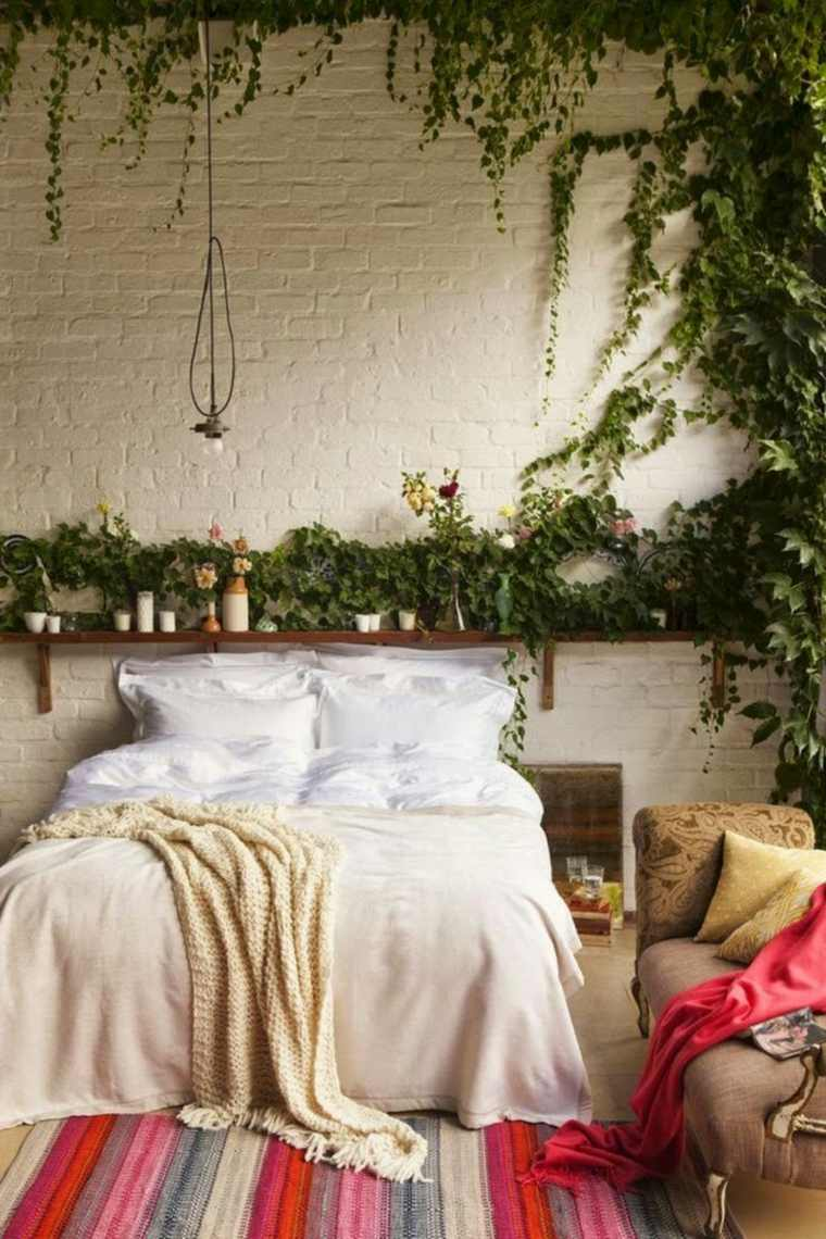 decoracion interiores plantas dormitorio bohemio ideas