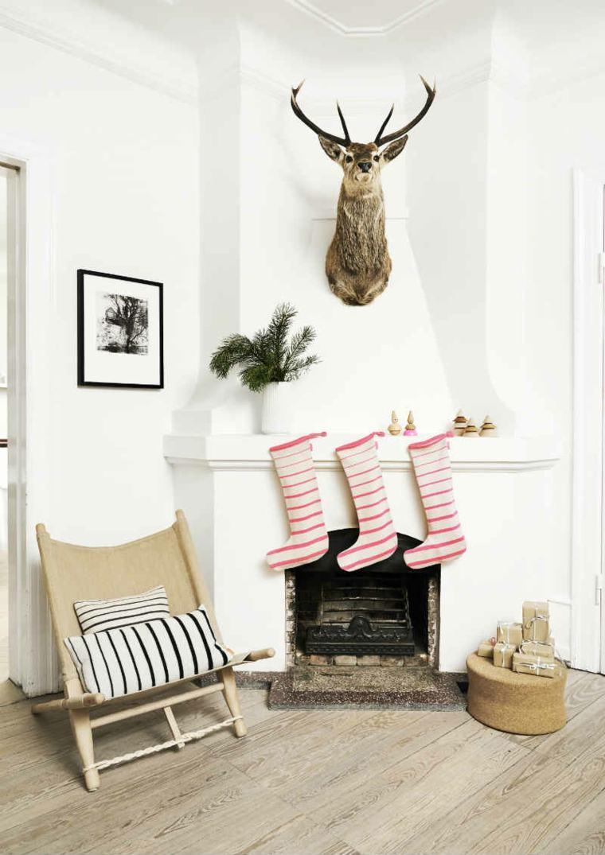 decorar para navidad chimenea